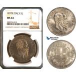AC943, Italy, Vitt. Emanuele II, 5 Lire 1877-R, Rome, Silver, NGC MS64, Pop 2/1