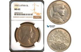 AC944, Latvia, 5 Lati 1932, Silver, NGC MS63