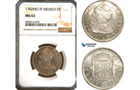 AC945, Mexico, Charles IV, 2 Reales 1782 Mo FF, Mexico City, Silver, NGC MS63
