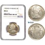 AC946, Mexico, Charles IV, 2 Reales 1782 Mo FF, Mexico City, Silver, NGC MS61