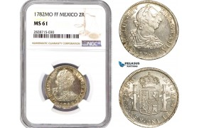 AC946, Mexico, Charles IV, 2 Reales 1782 Mo FF, Mexico City, Silver, NGC MS61