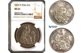 AC947, Peru, 1 Sol 1894 Lima TF, Lima, Silver, NGC MS63