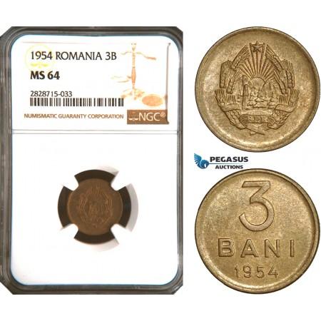 AC949, Romania, 3 Bani 1954, NGC MS64, Rare!