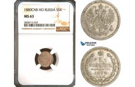 AC951, Russia, Alexander II, 5 Kopeks 1880, СПБ-НФ, St. Petersburg, Silver, NGC MS63
