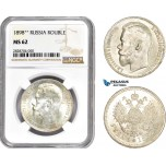 AC955, Russia, Nicholas II, Rouble 1898 (**) Brussels, Silver, NGC MS62