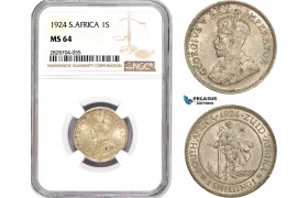 AC958, South Africa, 1 Shilling 1924, Pretoria, Silver, NGC MS64