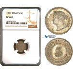 AC959, Straits Settlements, Victoria, 5 Cents 1877, Silver, NGC MS62, Pop 2/1, Rare!