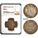 AC960, Straits Settlements, Edward VII, 50 Cents 1907-H, Heaton, Silver, NGC MS62
