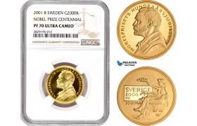 AC962, Sweden, Nobel Prize Centennial 2000 Kronor 2001, Stockholm, Gold, NGC PF70UC, Pop 3/0