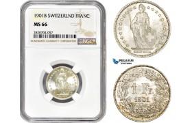 AC963, Switzerland, 1 Franc 1901-B, Bern, Silver, NGC MS66