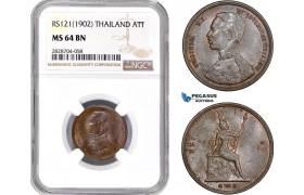 AC964, Thailand, Rama V, 1 Att RS121 (1902) NGC MS64BN