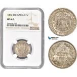 AC968, Bulgaria, Alexander, 1 Lev 1882, Silver, NGC MS62