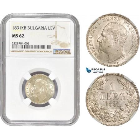 AC969, Bulgaria, Ferdinand, 1 Lev 1891-KB, Kremnitz, Silver, NGC MS62