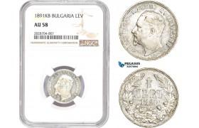 AC970, Bulgaria, Ferdinand, 1 Lev 1891-KB, Kremnitz, Silver, NGC AU58