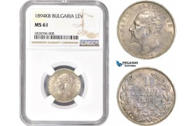 AC971, Bulgaria, Ferdinand, 1 Lev 1894-KB, Kremnitz, Silver, NGC MS61
