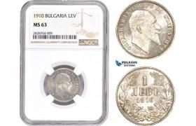 AC972, Bulgaria, Ferdinand, 1 Lev 1910, Silver, NGC MS63