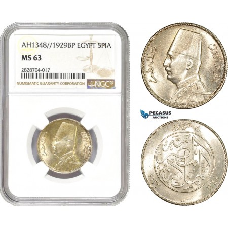 AC973, Egypt, Fuad, 5 Piastres AH1348 / 1929-BP, Budapest, Silver, NGC MS63