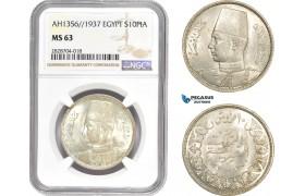 AC974, Egypt, Farouk, 10 Piastres AH1356 / 1937, Silver, NGC MS63