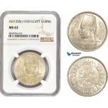 AC975, Egypt, Farouk, 10 Piastres AH1358 / 1939, Silver, NGC MS62
