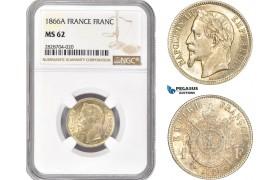 AC976, France, Napoleon III, 1 Franc 1866-A, Paris, Silver, NGC MS62