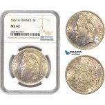 AC977, France, Napoleon III, 5 Francs 1867-A, Paris, Silver, NGC MS62