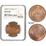 AC979, French Indo-China, 1 Centime 1885-A, Paris, NGC MS64RB