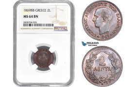 "AC980, Greece, George I, 2 Lepta 1869-BB ""Large BB"" Strasbourg, NGC MS64BN"