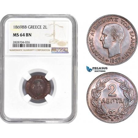 "AC980, Greece, George I, 2 Lepta 1869-BB ""Large BB"" Strasbourg, NGC MS64BN"