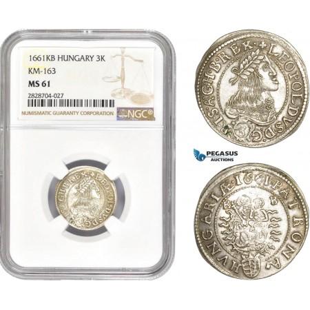 AC981, Hungary, Leopold I, 3 Krajczar 1661-KB, Kremnitz, Silver, NGC MS61