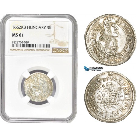 AC983, Hungary, Leopold I, 3 Krajczar 1662-KB, Kremnitz, Silver, NGC MS61
