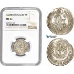 AC984, Hungary, Leopold I, 3 Krajczar 1662-KB, Kremnitz, Silver,