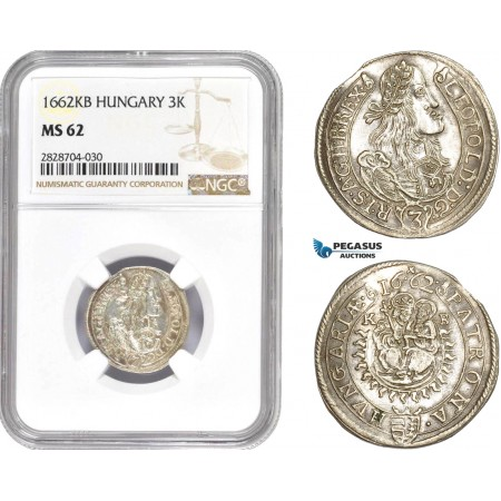 "AC984, Hungary, Leopold I, 3 Krajczar 1662-KB, Kremnitz, Silver, ""Leopold"" NGC MS62, Rare!"