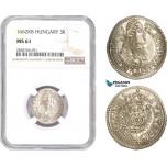 AC985, Hungary, Leopold I, 3 Krajczar 1662-KB, Kremnitz, Silver,
