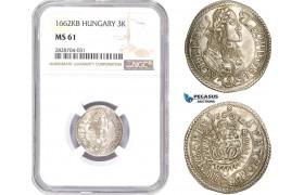 "AC985, Hungary, Leopold I, 3 Krajczar 1662-KB, Kremnitz, Silver, ""PATRONa"" NGC MS61, Rare!"