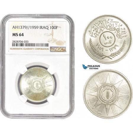 AC987, Iraq, 100 Fils AH1379 / 1959, Silver, NGC MS64