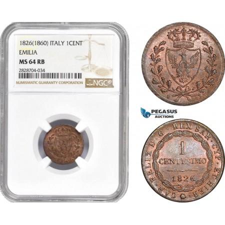AC988, Italy, Sardinia, Carlo Felice, 1 Centesimo 1826 Eagle L, Turin, NGC MS64RB, Pop 1/0, Label Error!