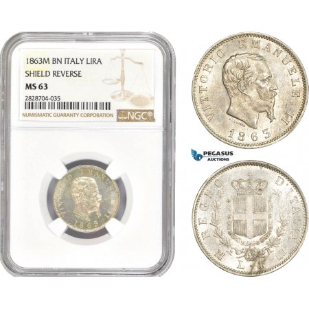 AC989, Italy, Vitt. Emanuele II, 1 Lira 1863-M, Milan, Silver, NGC MS63