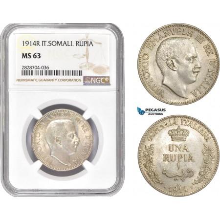 AC990, Italian Somaliland, Vitt. Emanuele III, Rupia 1914-R, Rome, Silver, NGC MS63