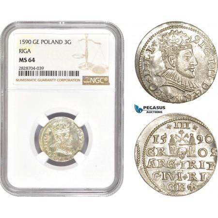 AC991, Latvia, Riga, Sigismund III. of Poland, 3 Groschen (Trojak) 1590, Silver, NGC MS64