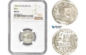 AC992, Latvia, Riga, Sigismund III. of Poland, 3 Groschen (Trojak) 1596, Silver, NGC MS63