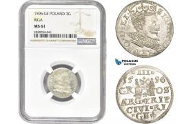 AC993, Latvia, Riga, Sigismund III. of Poland, 3 Groschen (Trojak) 1596, Silver, NGC MS61