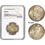 AC994, Romania, Carol I, 2 Lei 1914, Silver, NGC MS64
