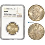 AC995, Romania, Carol I, 2 Lei 1914, Silver, NGC MS64