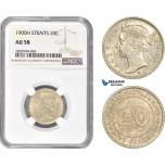 AC999, Straits Settlements, Victoria, 20 Cents 1900-H, Heaton, Silver, NGC AU58