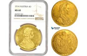 AD001, Austria, Franz Joseph, 4 Ducats 1914, Vienna, Gold, NGC MS60