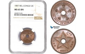 AD002-R, Belgian Congo, Leopold II, 2 Centimes 1887, NGC MS65BN