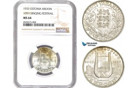 AD008-R, Estonia, 1 Kroon 1933, Silver, NGC MS64