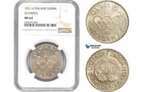 AD009-R, Finland, 500 Markkaa 1951-H, Helsinki, Silver, Olympics, NGC MS64
