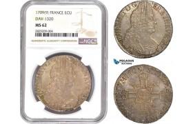 AD010, France, Louis XIV, Ecu 1709 (9) Rennes, Silver, NGC MS62, Pop 2/0