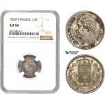 AD012, France, Charles X, 1/2 Franc 1827-H, La Rochelle, Silver, NGC AU58, Pop 1/0, Rare!